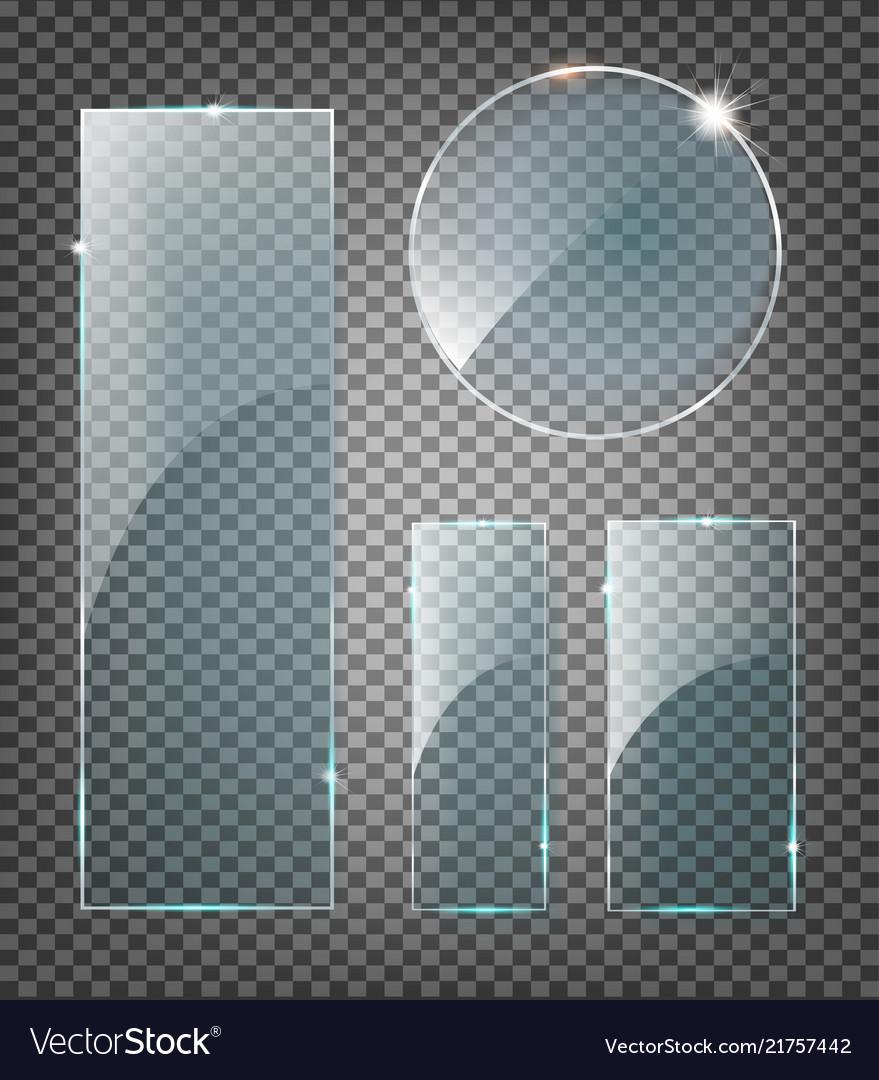 Modern transparent glass plates set on