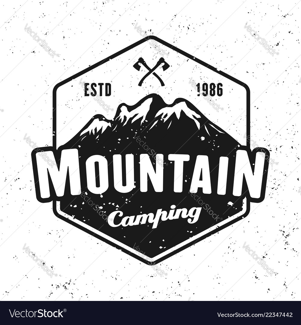 Mountains camping badge isolated on white