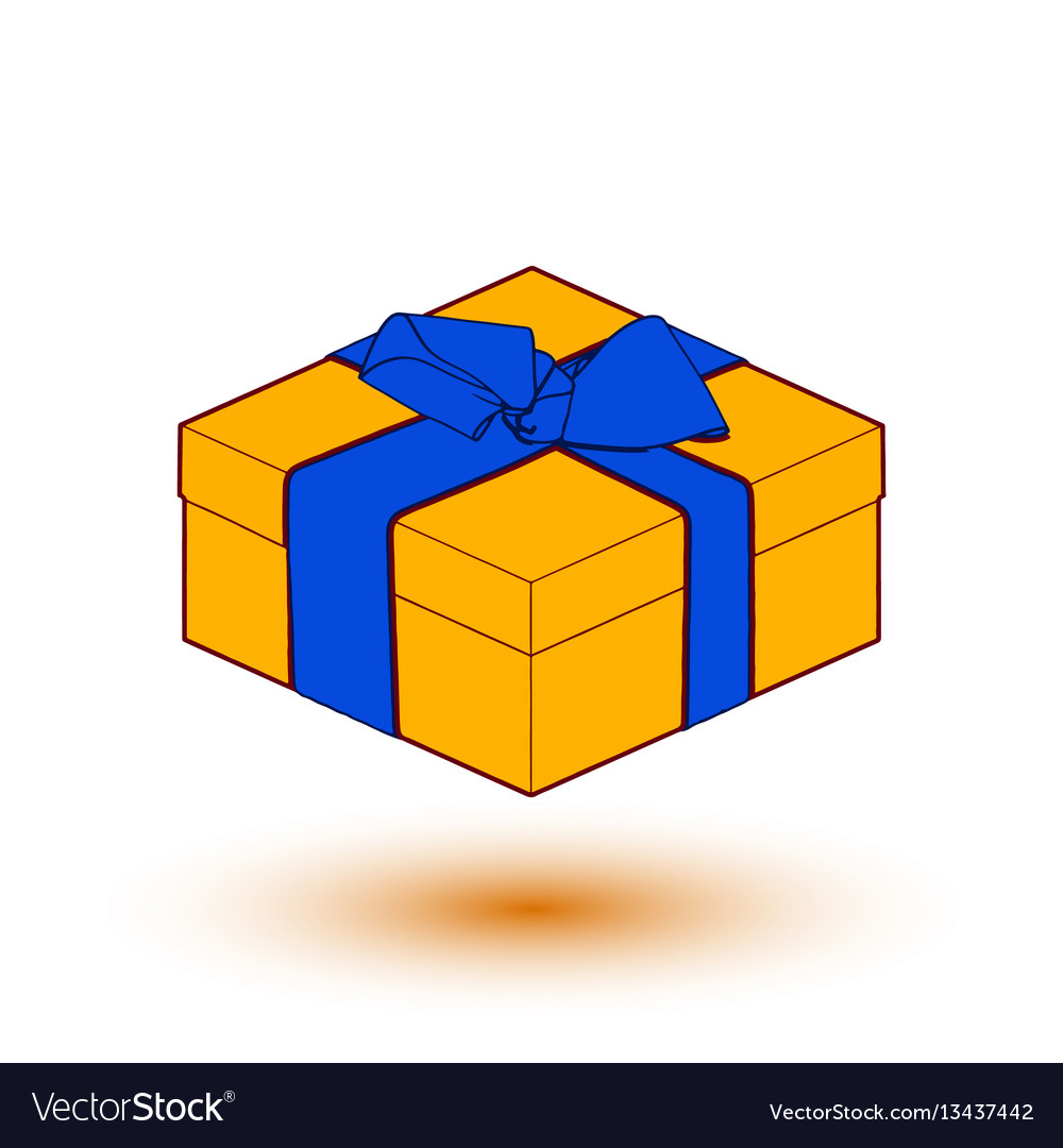 Orange gift box present with blue bow and ribbon