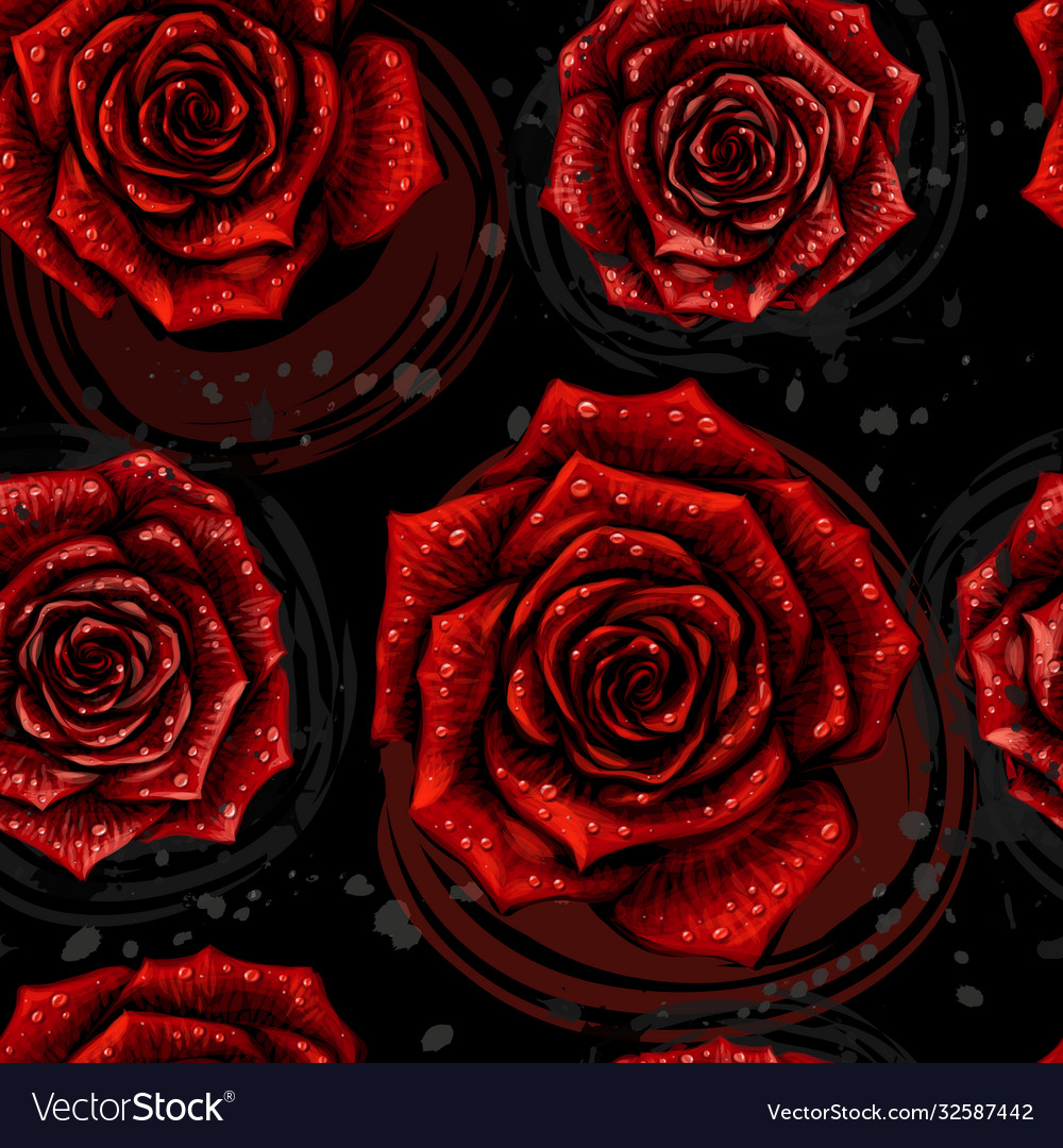 Rose pattern color seamless pattern with red rose