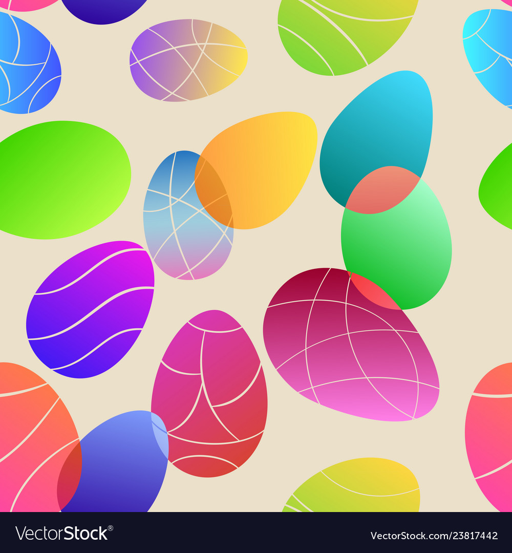Seamless pattern of colored easter eggs