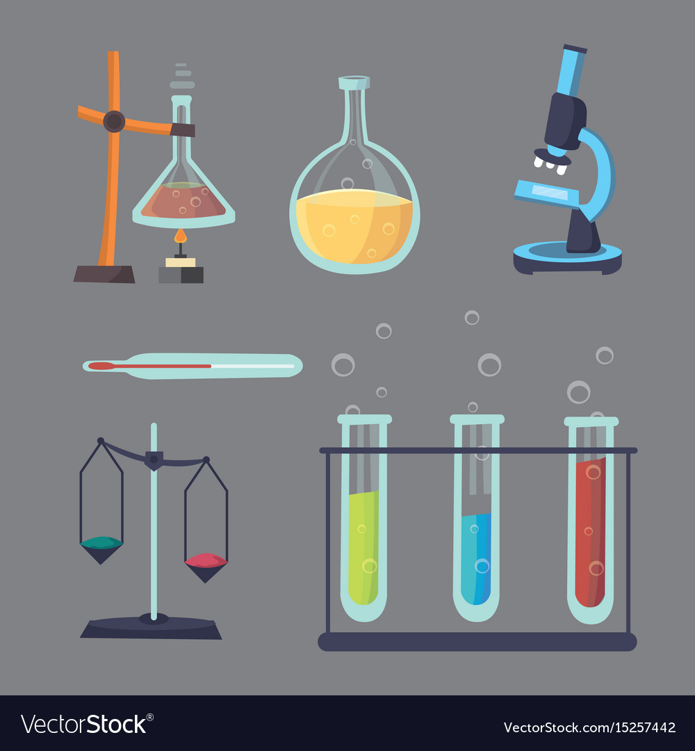 Set - chemical test flat design chemistry