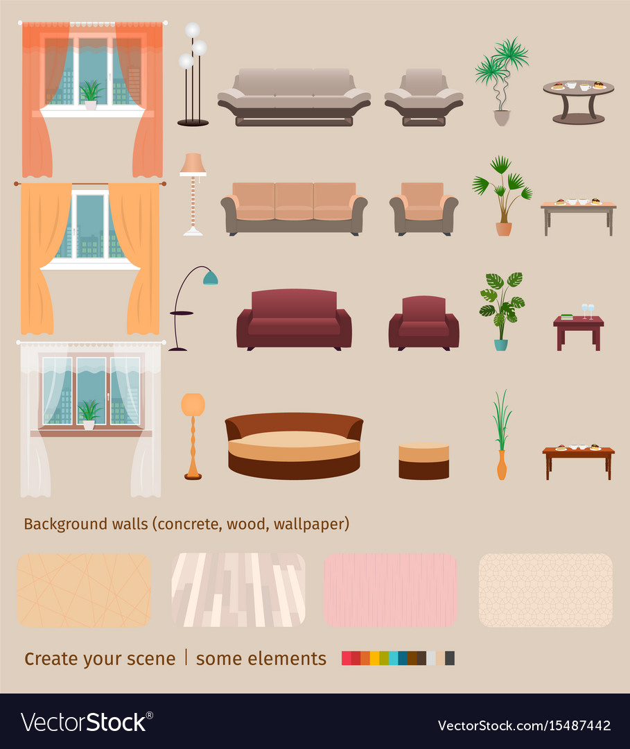 Set of domestic living room elements and