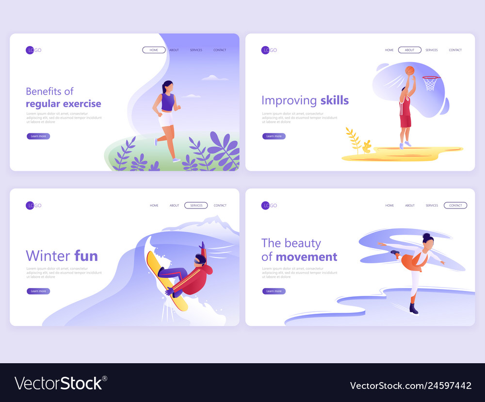 Set of landing page templates people doing sports