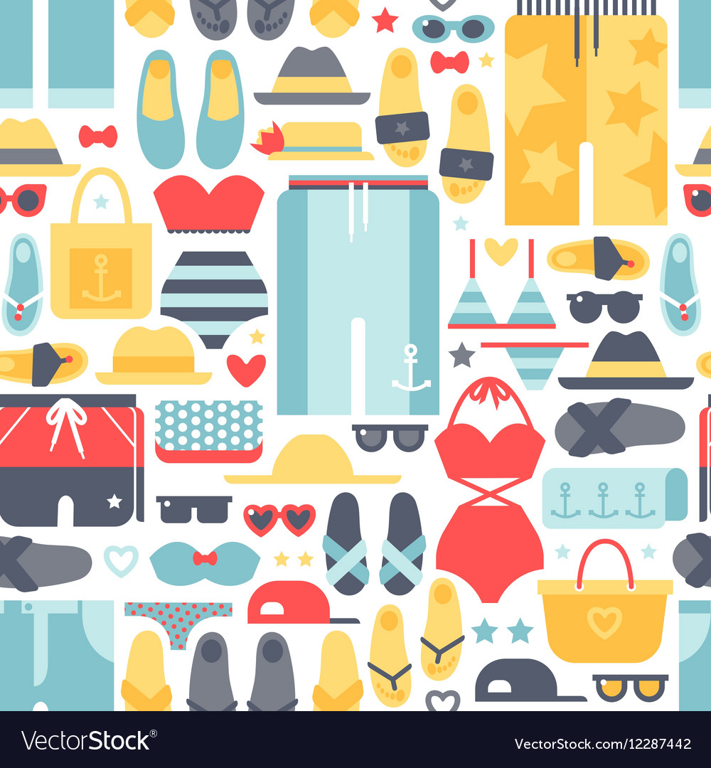 Summertime accessories seamless pattern