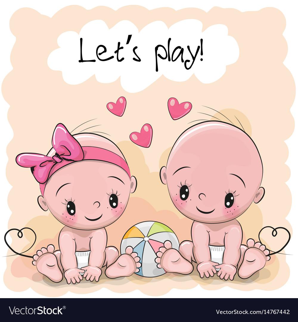 two cute cartoon babies royalty free vector image rh vectorstock com Baby Girl Cartoon cartoon babies images