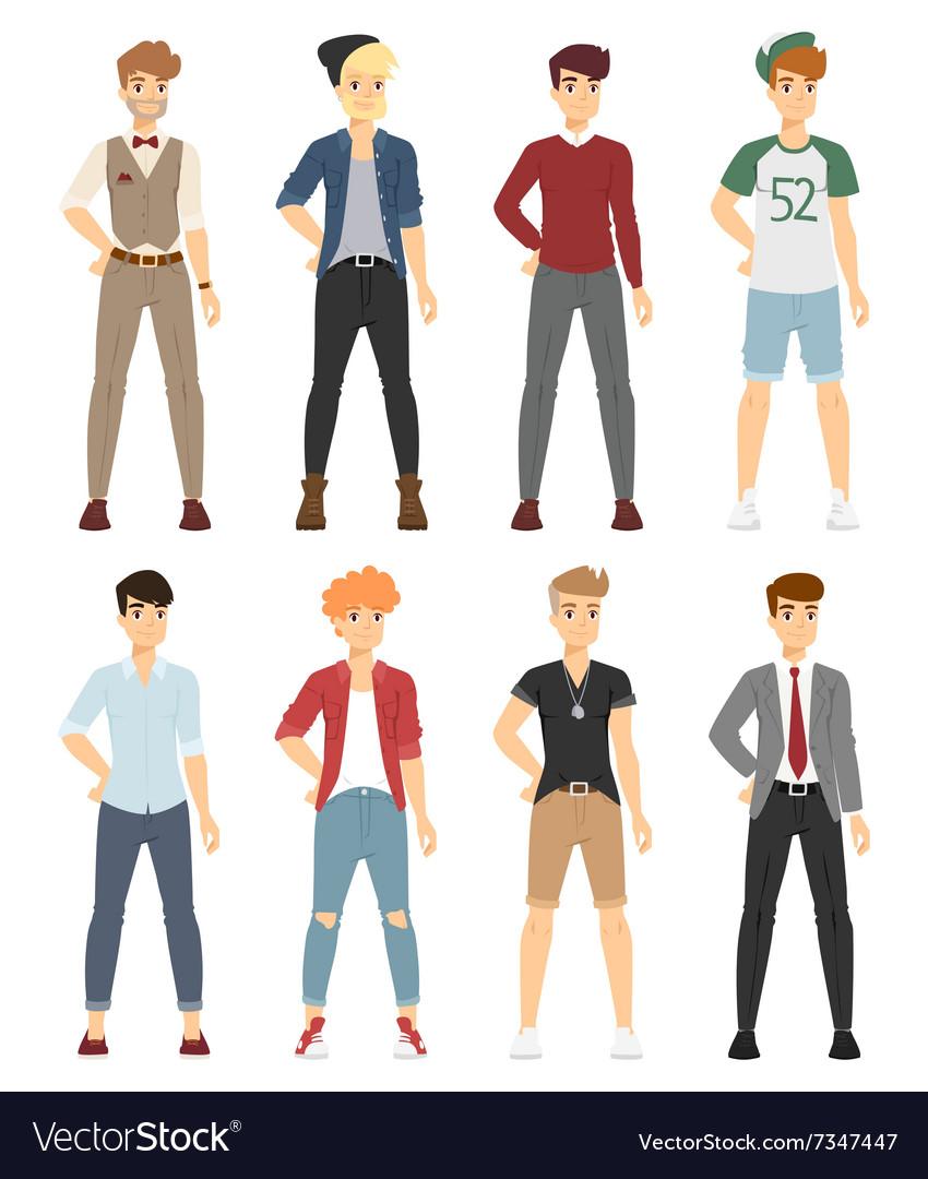 Beautiful cartoon fashion boy models look