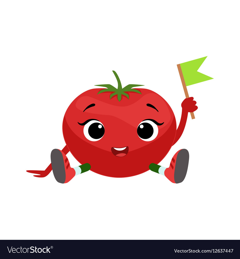 big eyed cute girly tomato character sitting vector image