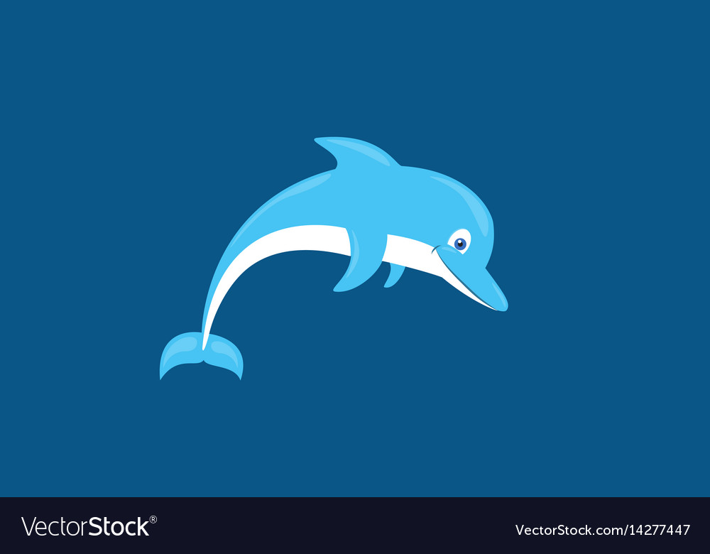 Cartoon cute smiling dolphin isolated vector image
