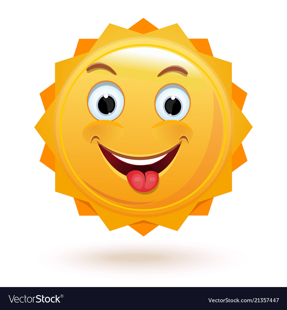 Cheerful anthropomorphic sun isolated on white
