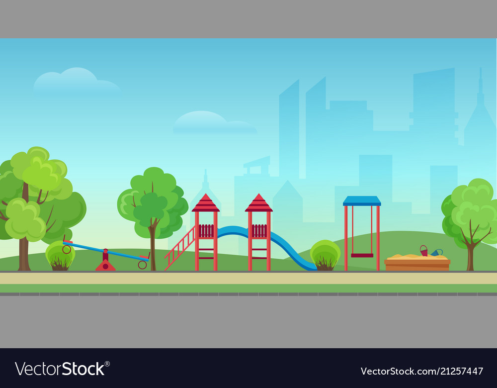 City public park with kids playground on