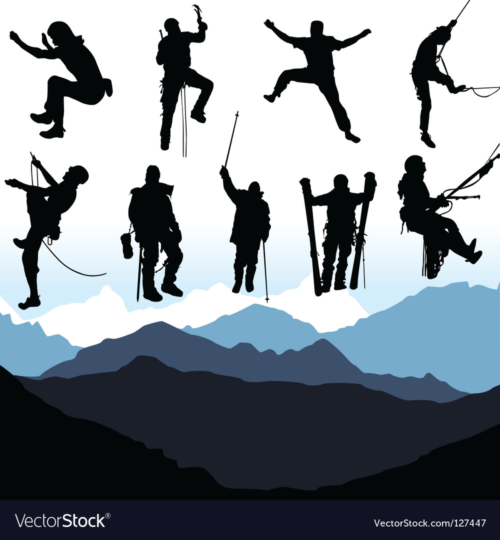 Climbers and mountain set vector image