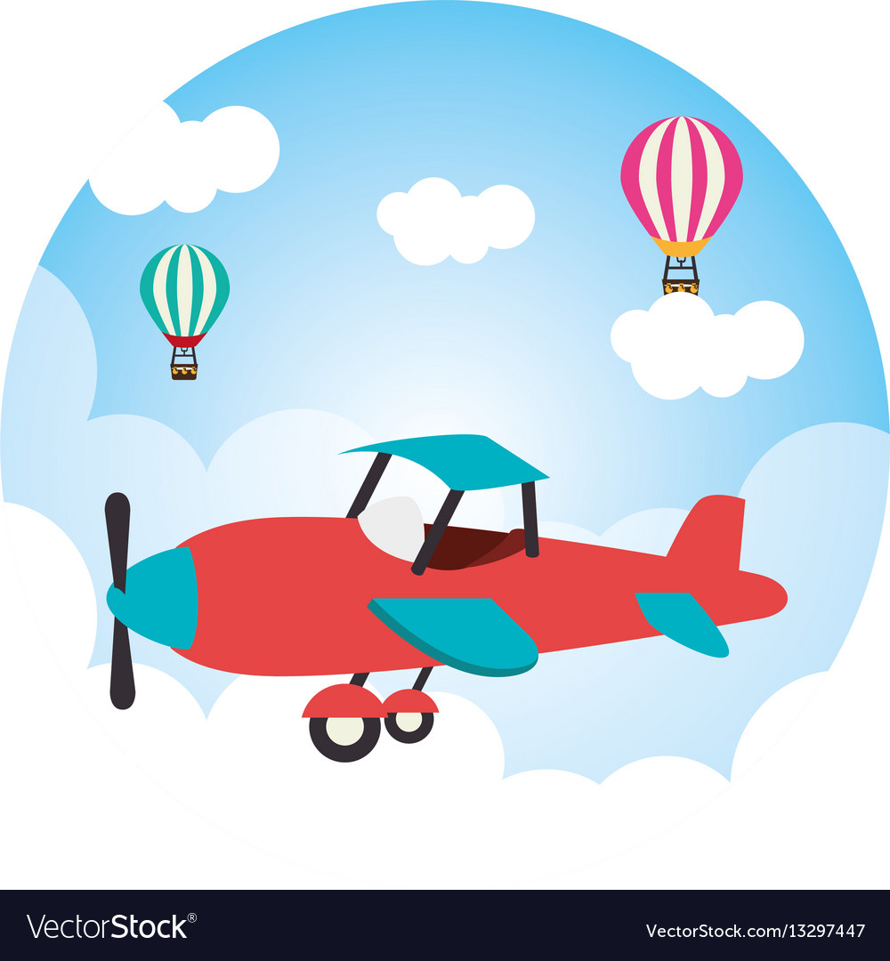 Cute ariplane flying icon