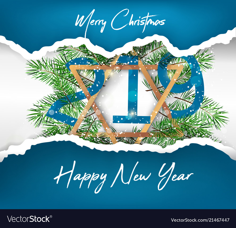 happy new year 2019 and merry christmas vector image