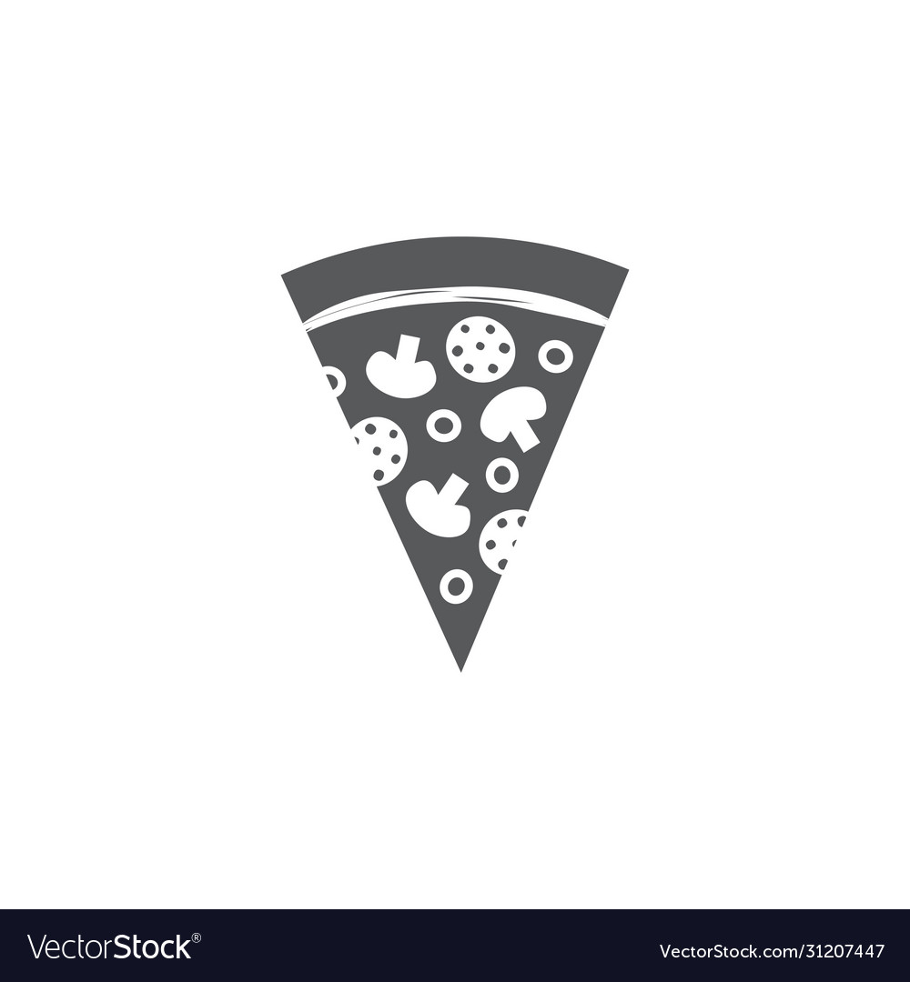 Pizza slice icon on white background