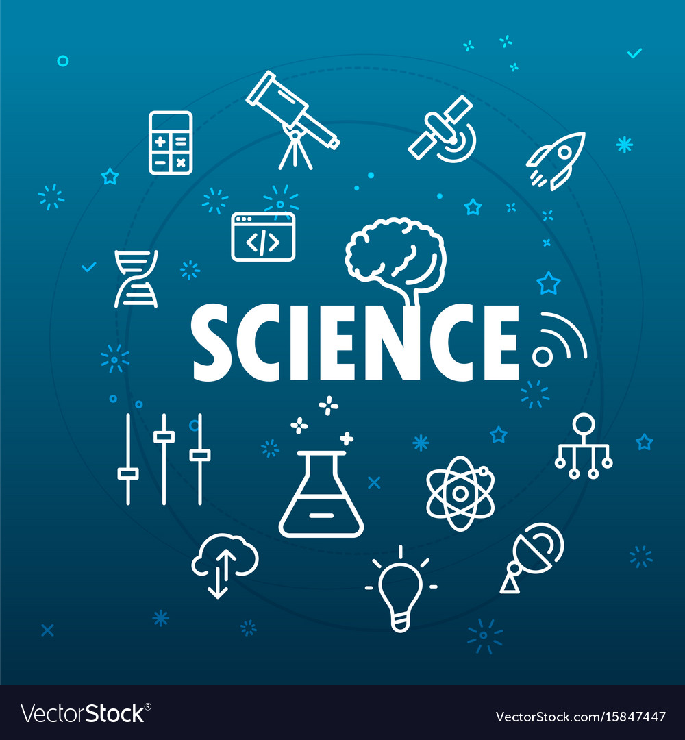 Science concept different thin line icons included