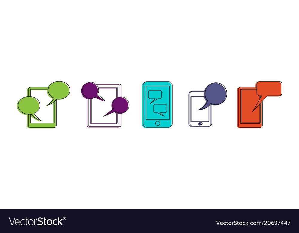 Smartphone chat icon set color outline style vector image