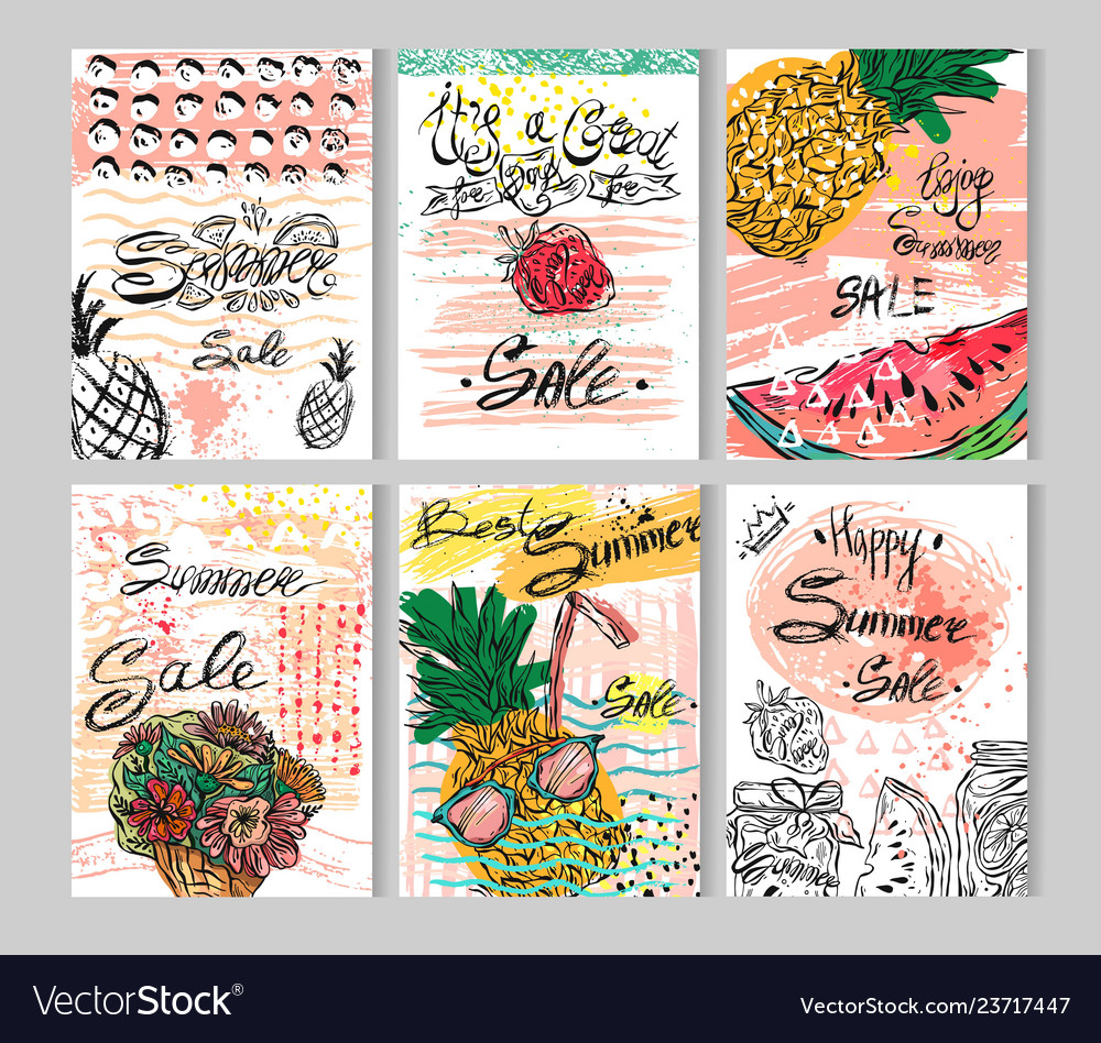 Summer hand drawn abstract calligraphic card set
