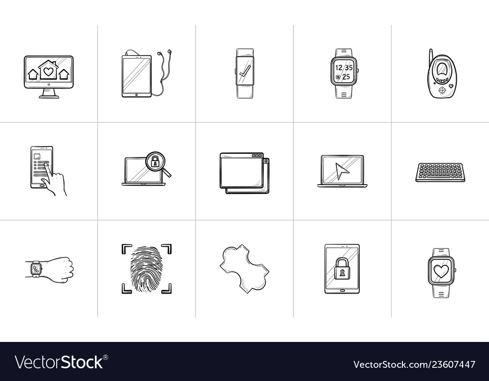 Technology and gadgets hand drawn outline doodle