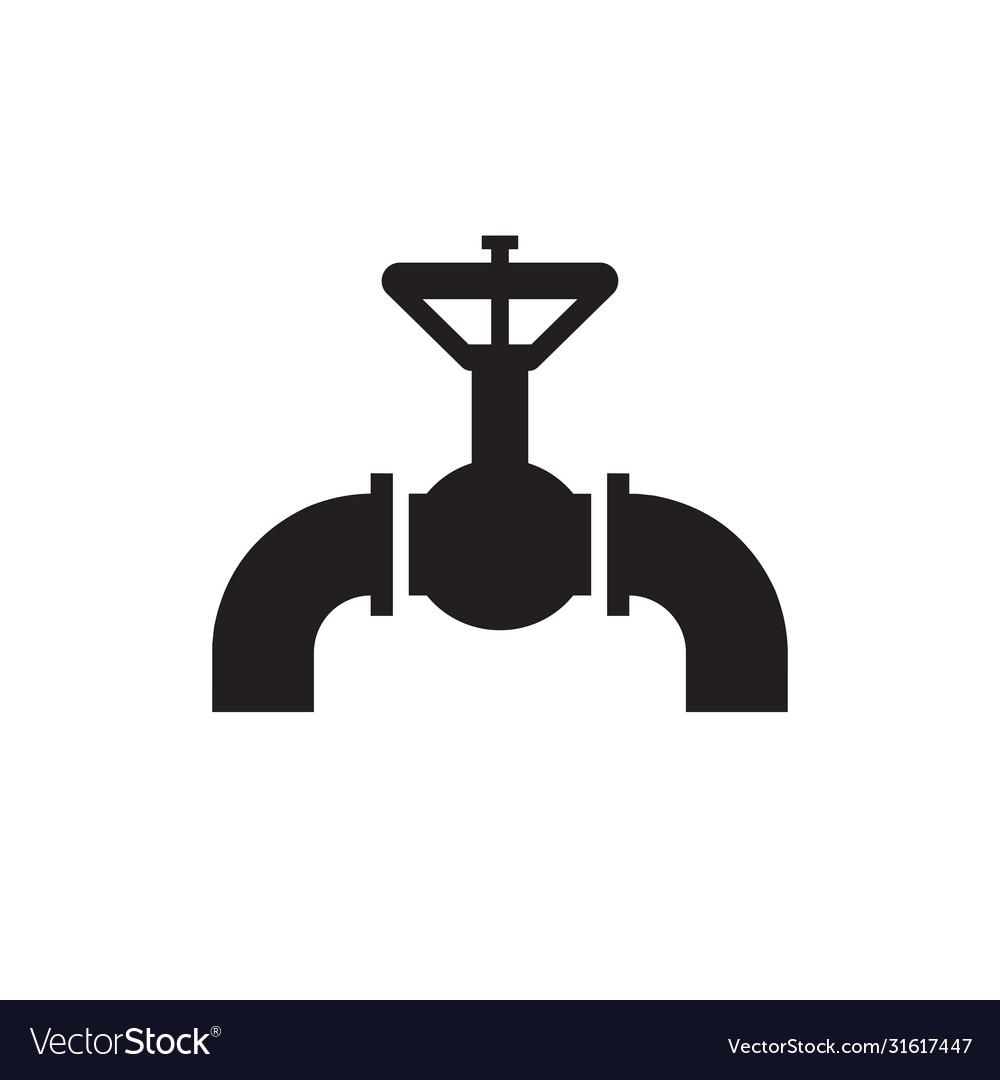 Valve gas pipeline - black icon on white
