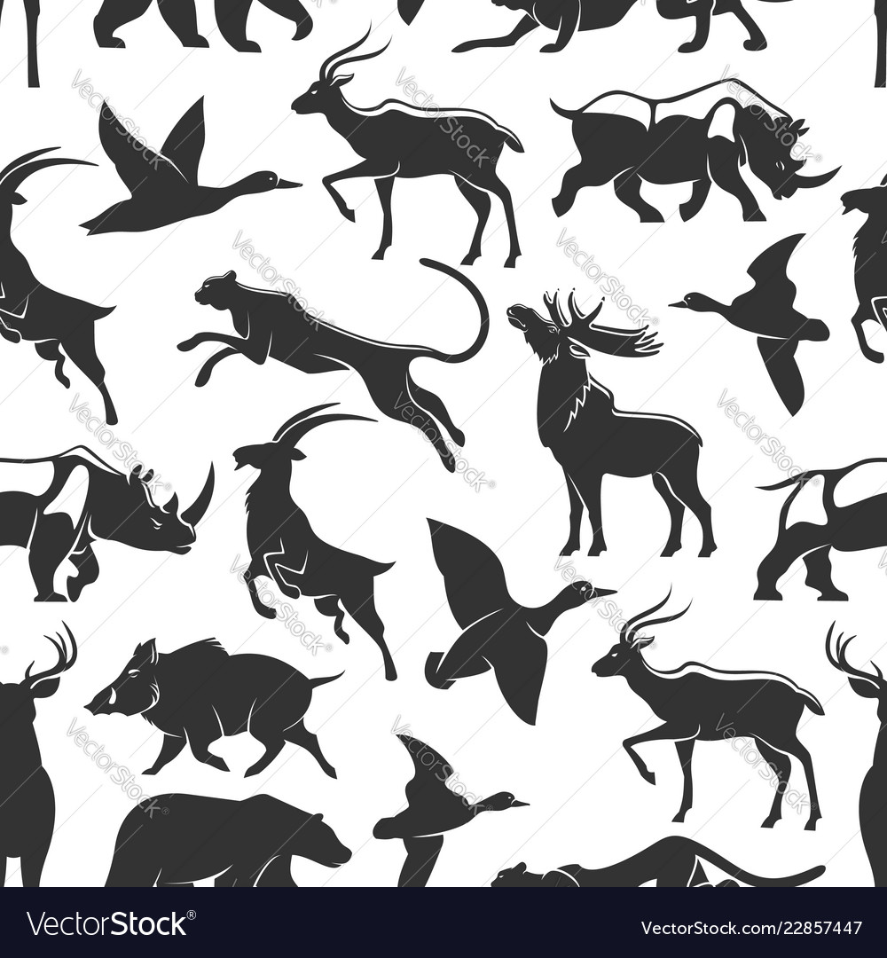 Wild animals hunting seamless pattern