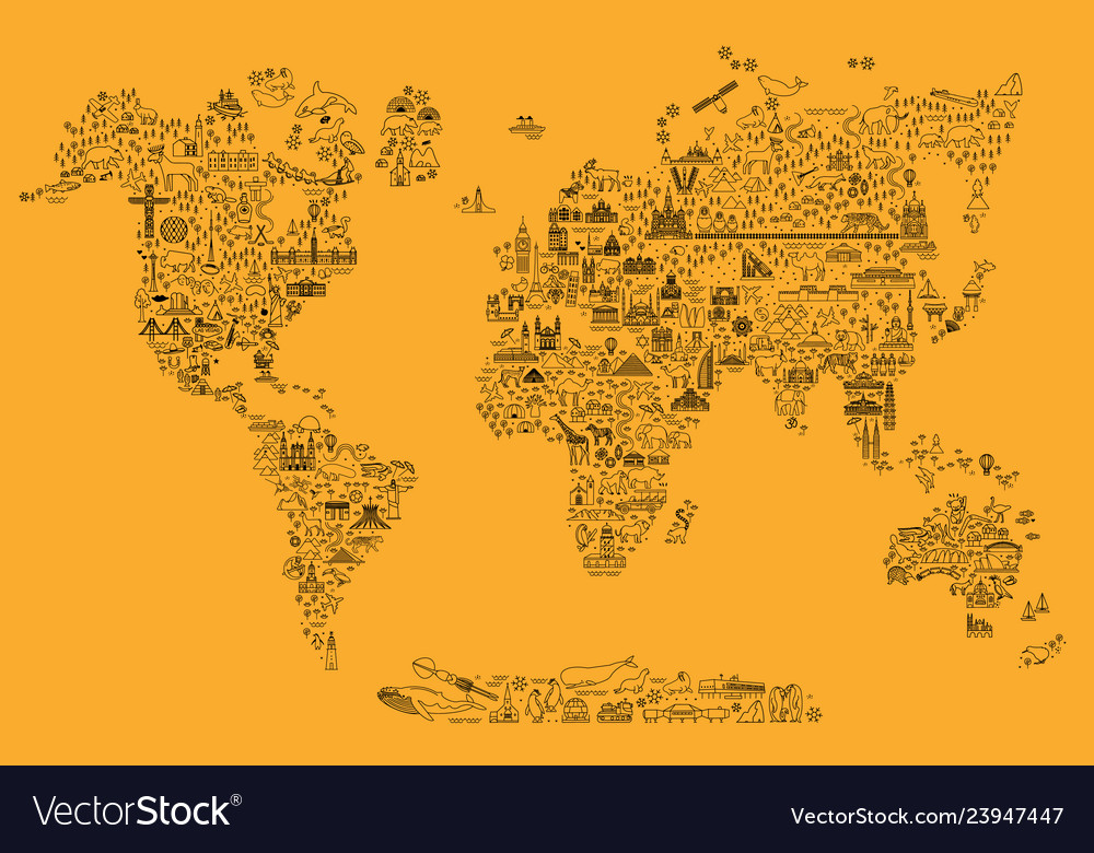 World travel line icons map travel poster with
