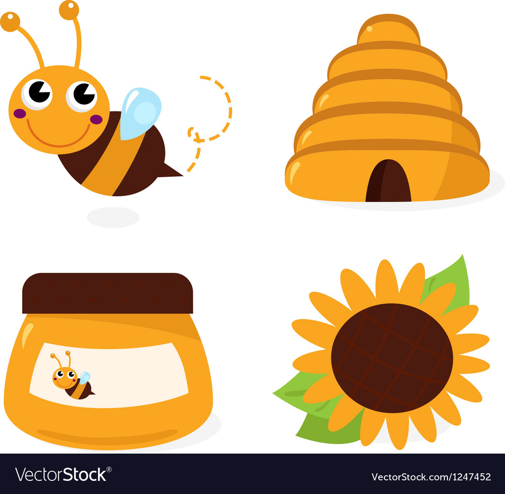 Bee and honey icons set isolated on white vector image