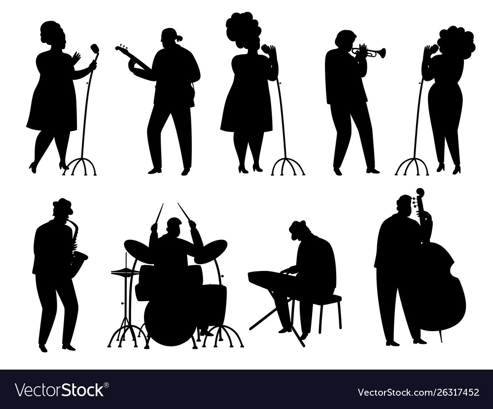 Black silhouette jazz musicians singer and