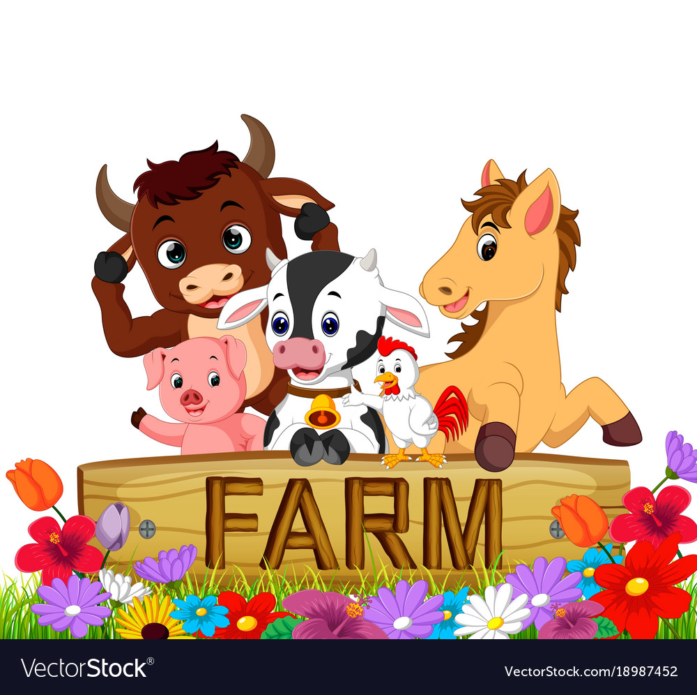 collection farm animals in the garden vector image - Garden Animals