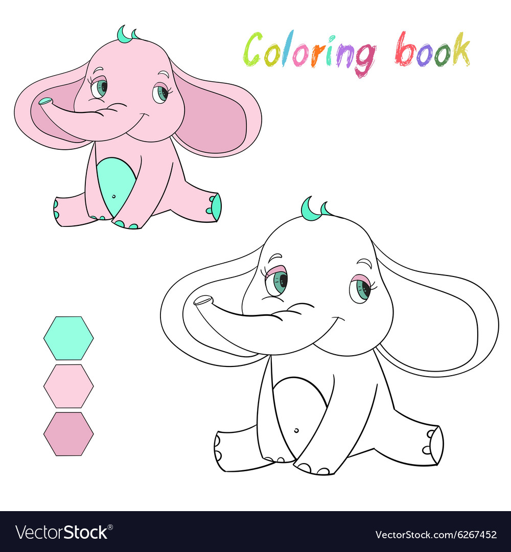 Coloring book elephant kids layout for game Vector Image