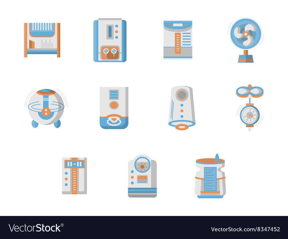 Flat design icons for home climatic system