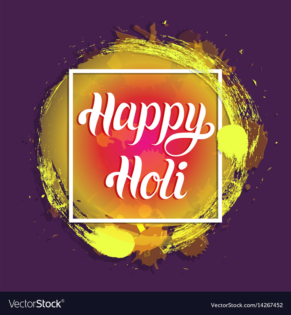 Happy holi greeting card poster festival of vector image m4hsunfo