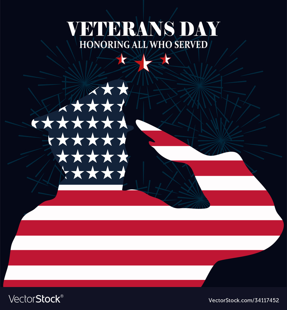 Happy veterans day silhouette soldier saluting