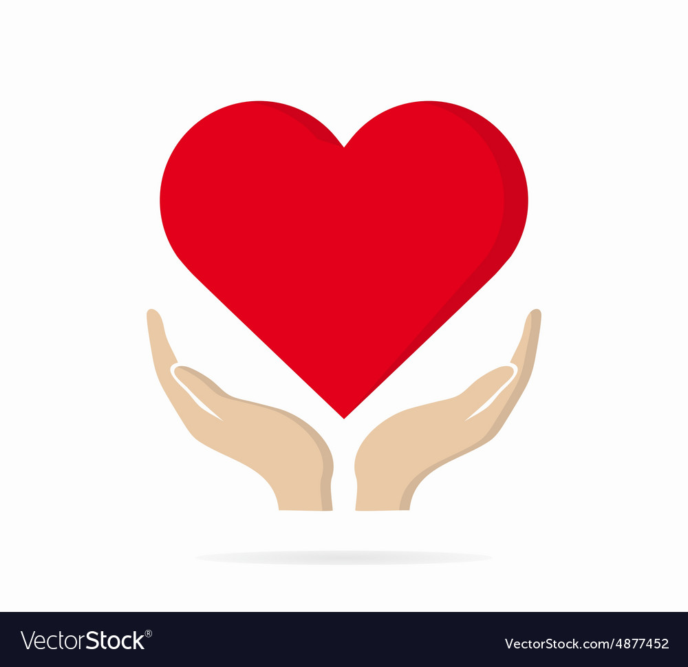 Heart in hand logo or icon