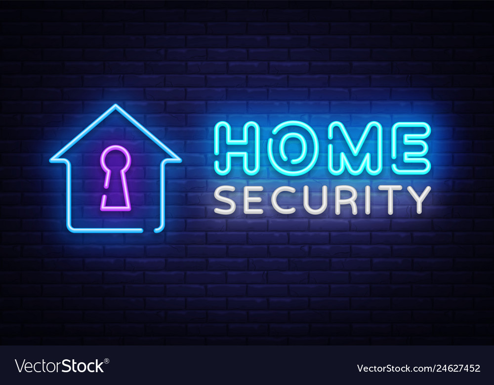 Home Security Neon Sign Design Template Royalty Free Vector