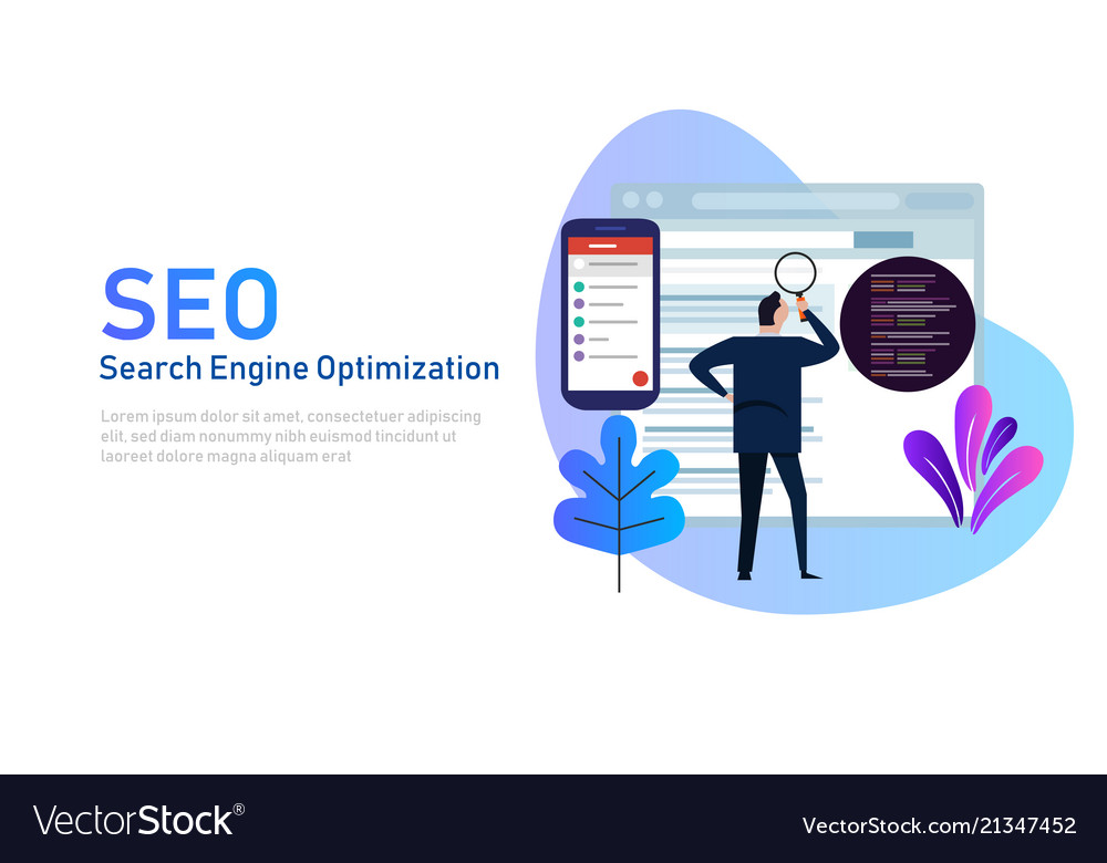Modern flat design concept of seo search engine