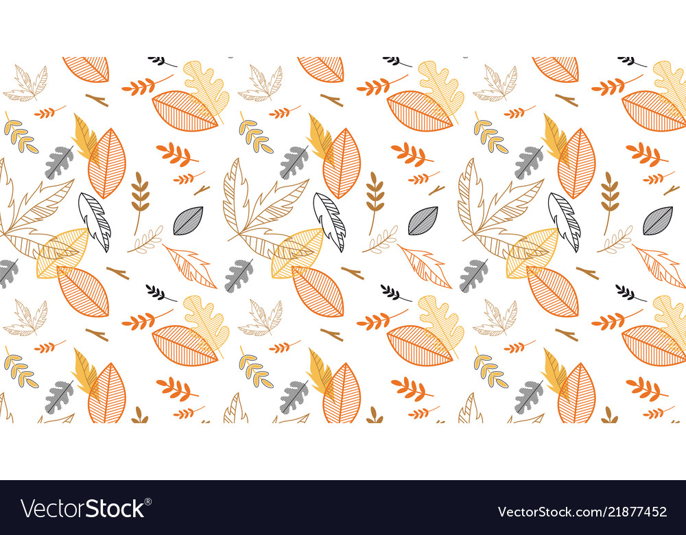 Pattern banner with hand drawn elegant autumn