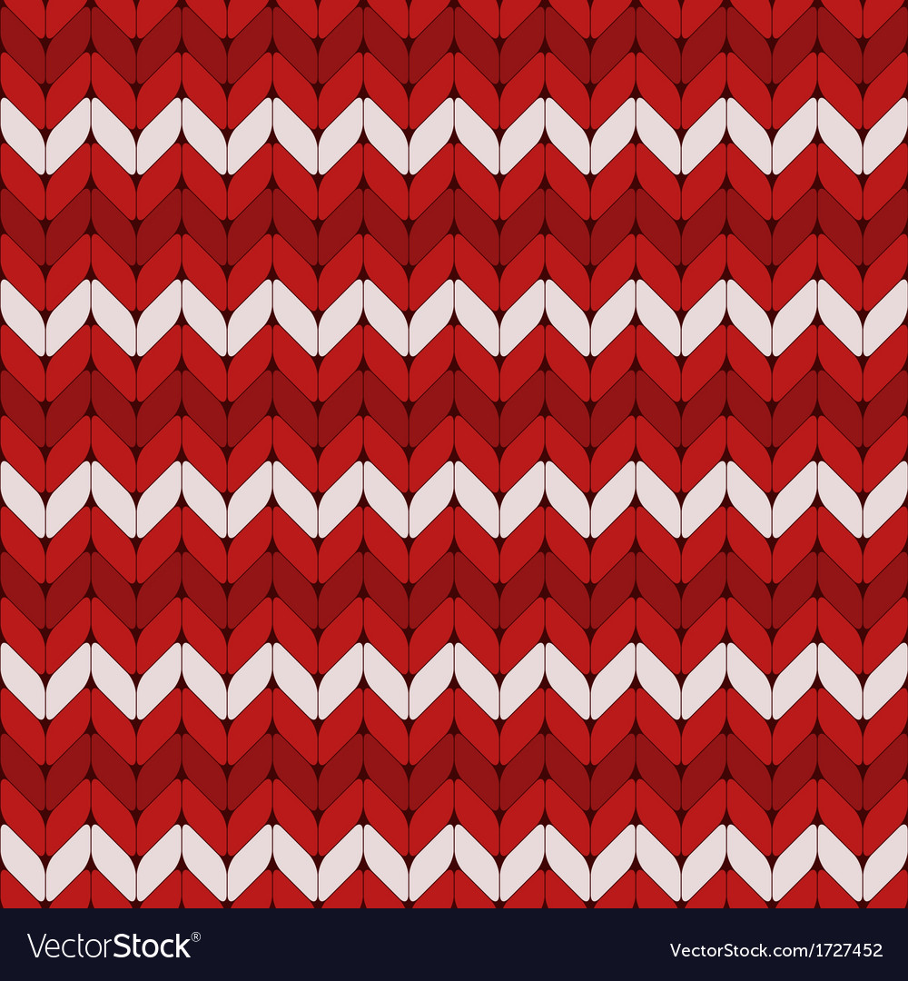 Seamless red and white knitted pattern
