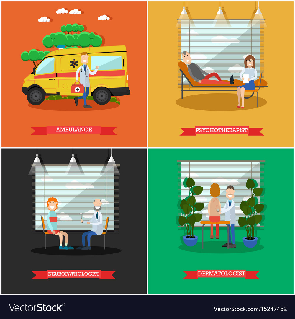 Set of doctors posters in flat style