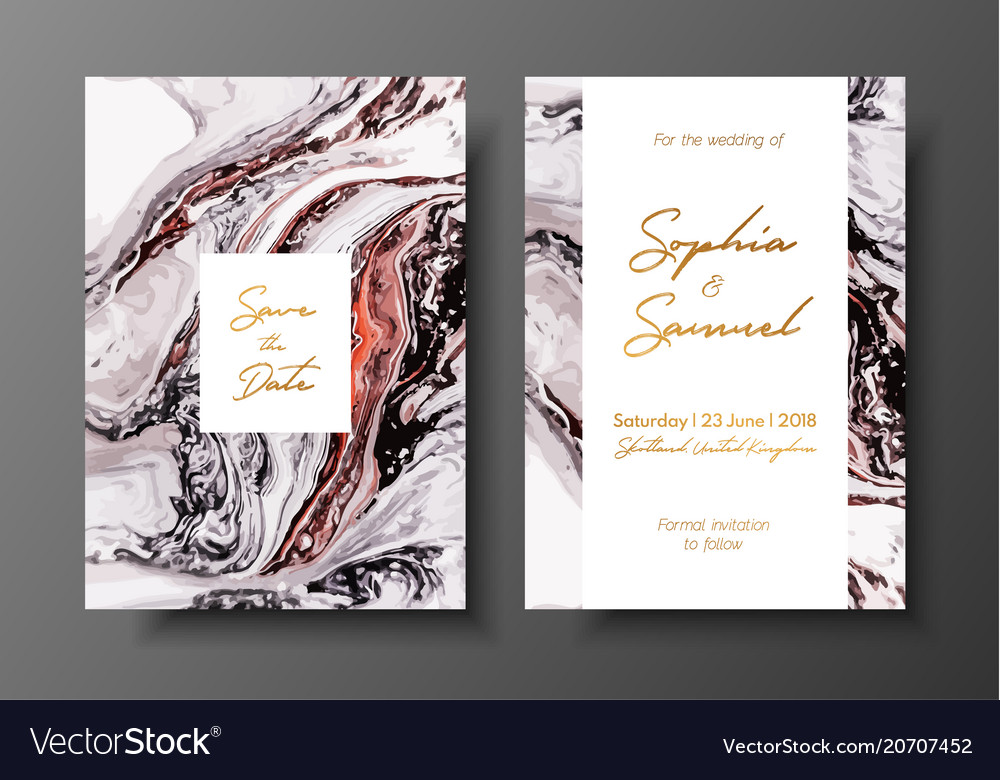 Wedding template with liquid marble texture for