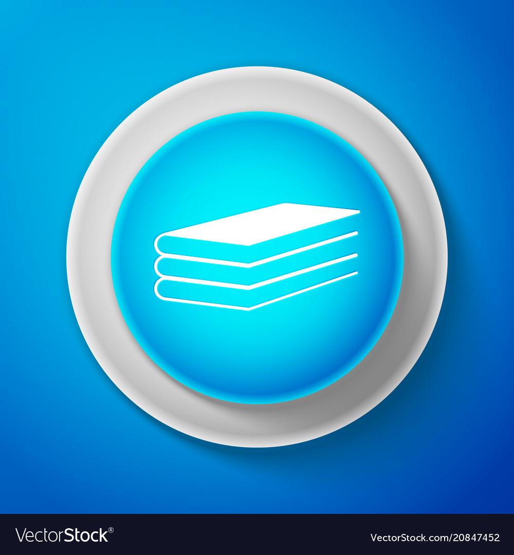White books icon isolated on blue background