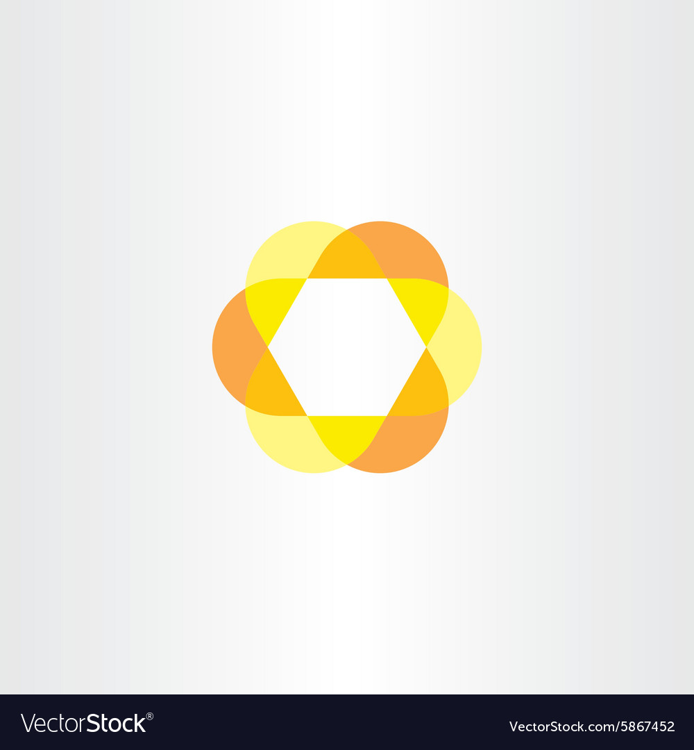 Yellow orange hexagon logo vector image