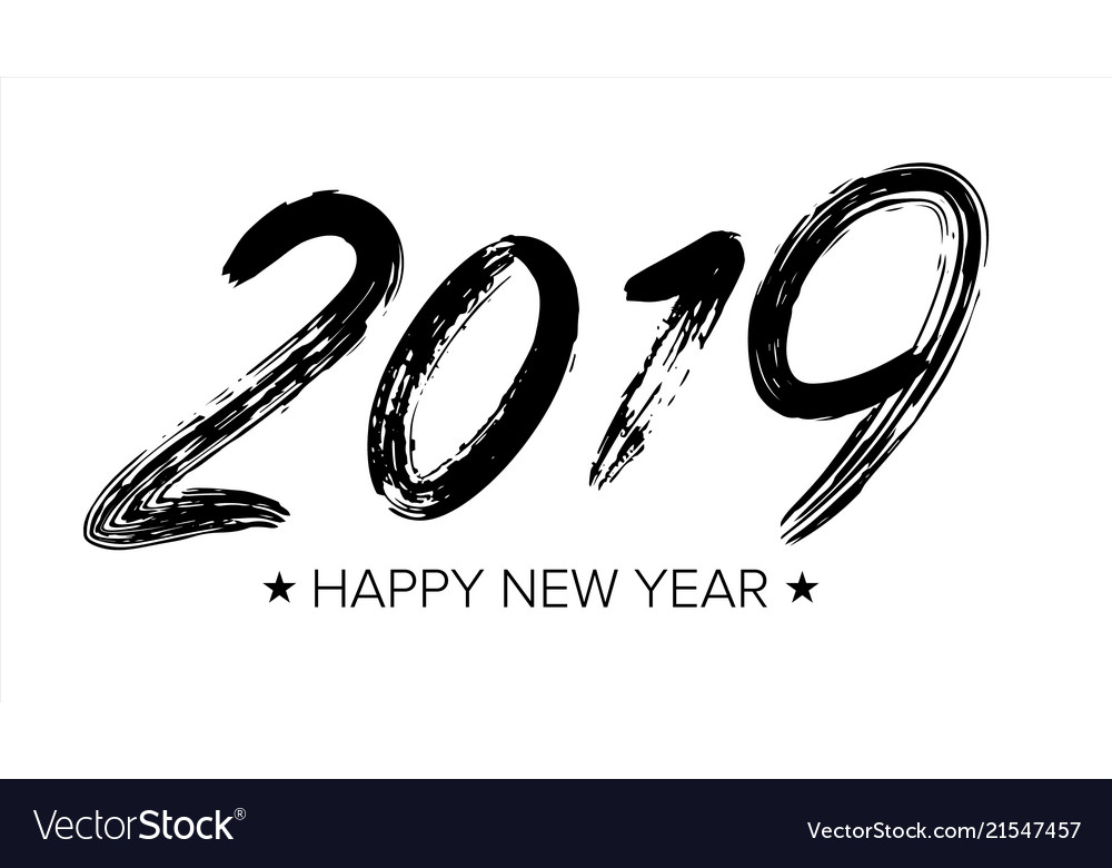 2019 sign grunge calligraphy happy new