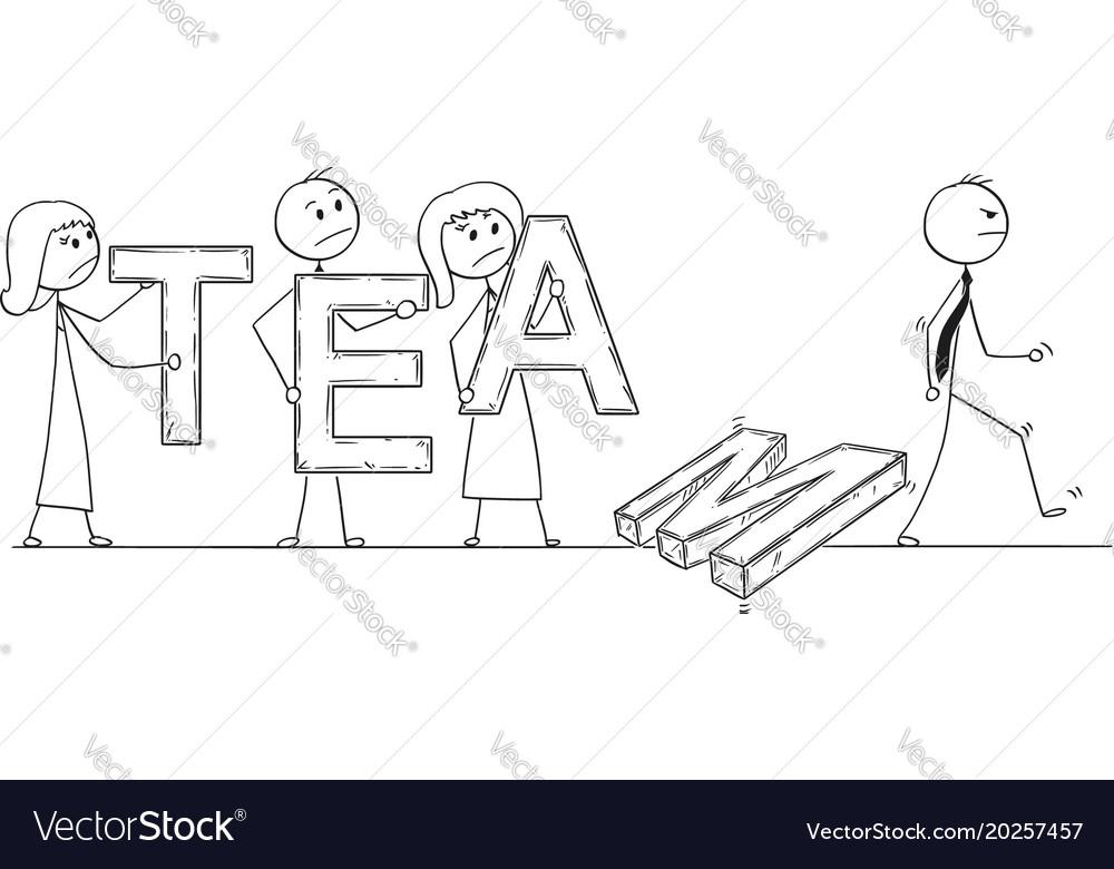 Cartoon of business team breaking down
