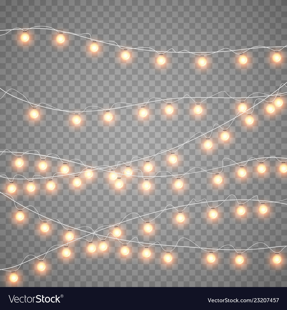 Christmas gold garlands isolation on transparent