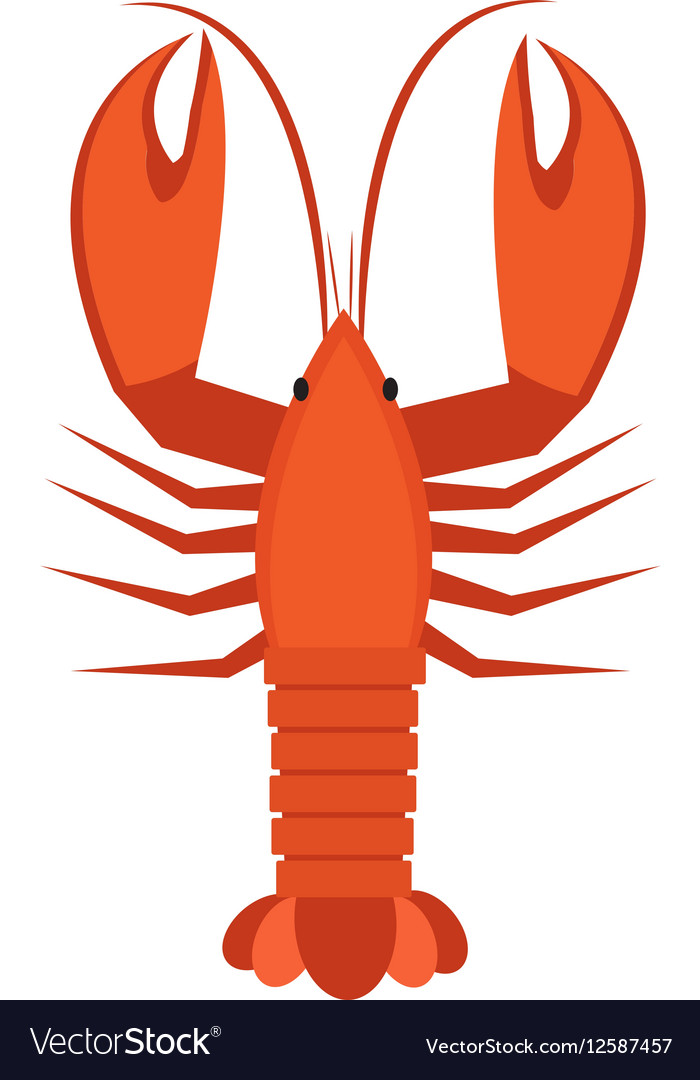 Crawfish icon flat style Lobster isolated on