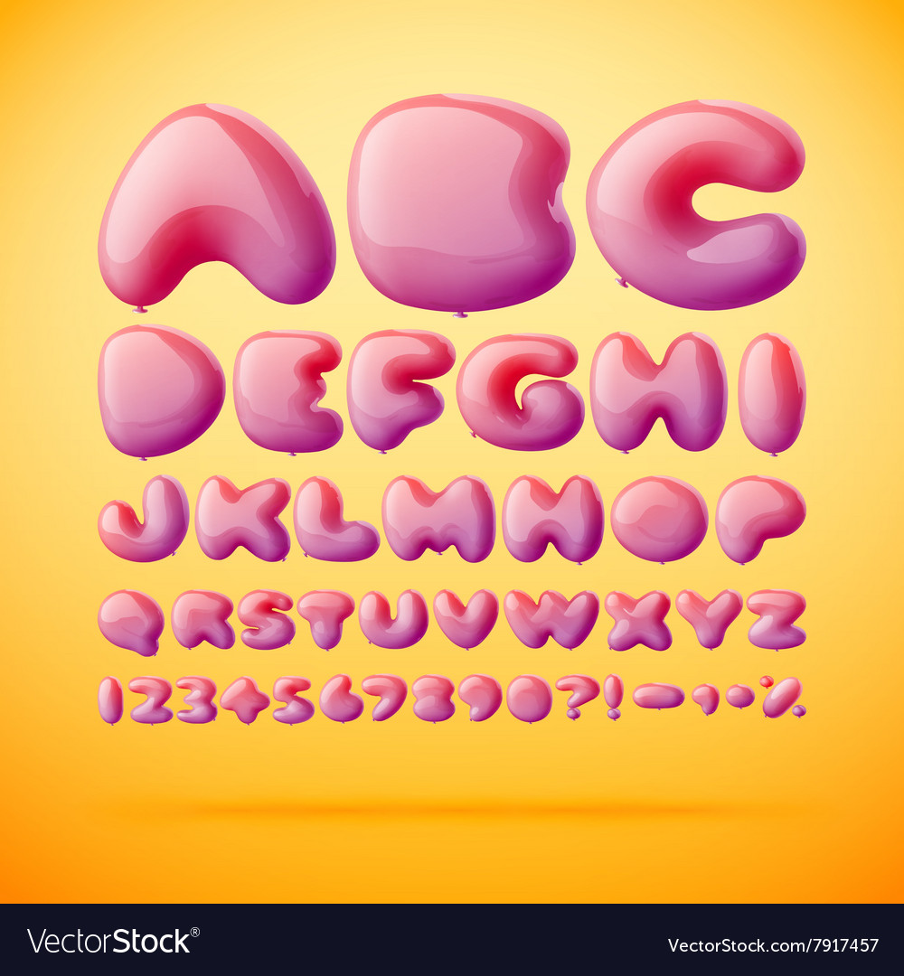 Font made from balloons Alphabet Royalty Free Vector Image