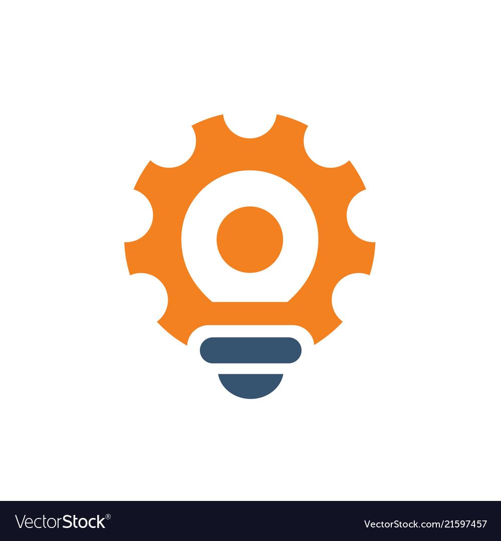 Gear tool light bulb logo icon