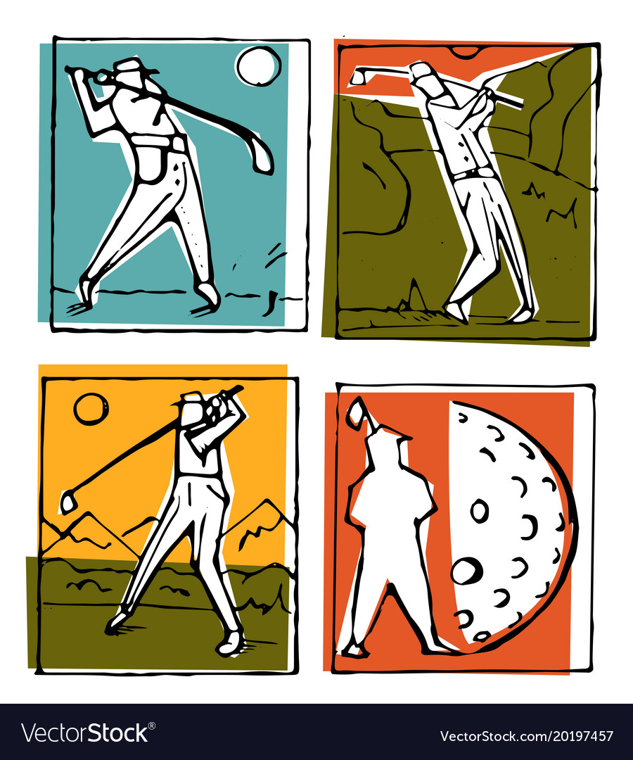 Golf club icons posters set