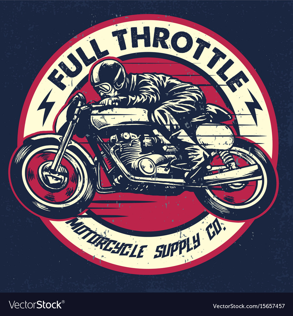 Hand Drawing Of Man Riding A Classic Cafe Racer Vector Image